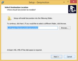 После скачивания Genymotion, запускаем установочный файл и выбираем место для установки.