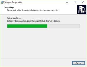 Процесс установки Genymotion.